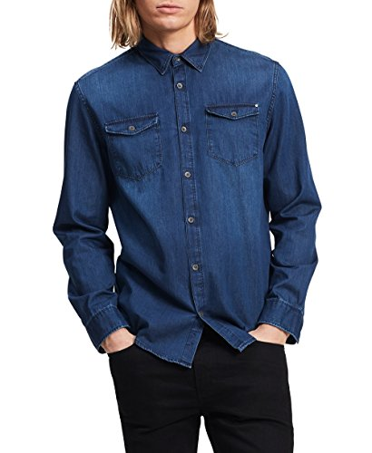 3126cd15 Calvin Klein 卡尔文克莱恩牛仔休闲衬衫上衣(男款)Men's Long Sleeve Basic Denim Shirt, Worn  Indigo, Large